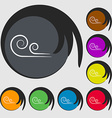 wind icon sign Symbols on eight colored buttons vector image vector image