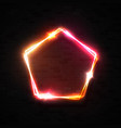 3d neon sign electric pentagon frame on brick wall vector image vector image