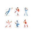 baseball players set cheerful softball athletes vector image vector image
