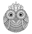 Birds theme Owl black and white mandala with vector image vector image