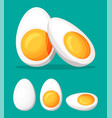 boiled eggs cut into half isolated on green vector image
