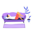 bored or tired male character staying at home vector image vector image