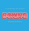 boxing text effect vector image vector image
