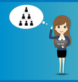 Business woman on blue background vector image