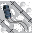 car rides on a slippery road vector image vector image