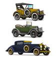 cartoon retro vintage luxury convertible cars vector image vector image