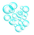 cloud of bright blue soap bubbles isolated on vector image