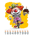 Clown on Unicle Carrying a Birthday Cake vector image vector image
