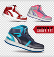 color sport shoes on transparent background vector image vector image