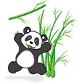 Cute Panda Bear in Bamboo Forrest 05 vector image