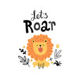 cute roaring lion in jungle vector image vector image