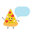 cute smiling funny cute pizza slice talking vector image vector image