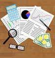 economic analysis of graphs and diagrams vector image vector image