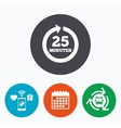 every 25 minutes sign icon full rotation arrow