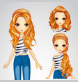 Fashion Girl In Jeens And Collection Of Hairstyles vector image vector image