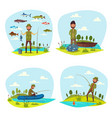 fisher man fishing big fish catch vector image