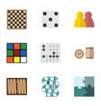flat icon entertainment set of chess table gomoku vector image vector image