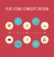flat icons means for cleaning washcloth sponge vector image vector image