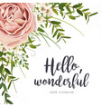 floral card design with purple pink garden rose vector image