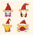 gnome christmas watercolor set vector image