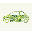 green car with icons vector image