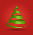 green glossy ribbon in a shape of christmas tree vector image