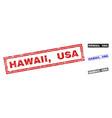 grunge hawaii usa textured rectangle stamp seals vector image vector image