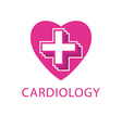 Heart and cross logo cardiology icon vector image vector image