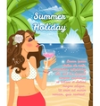 Holiday poster with woman vector image vector image