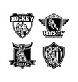 ice hockey tournament badge set black and white vector image vector image