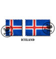 iceland flag pattern postage stamp with grunge vector image vector image