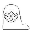 line girl face with glasses and hairstyle design vector image vector image