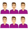 man on six different face expressions set vector image vector image