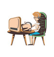man with desktop computer and headphone vector image vector image