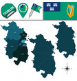 map of dublin with counties vector image vector image