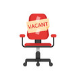 office chair with vacancy advertisement vector image vector image