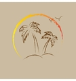 Palm tree contours vector image vector image
