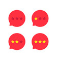 red rating stars icon set vector image vector image