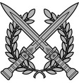 roman swords with laurel wreath vector image vector image