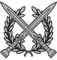 roman swords with laurel wreath vector image