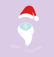 santa claus head label with surgical mask isolated vector image vector image