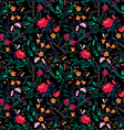 seamless floral pattern with roses and birds vector image vector image