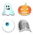 Set of Halloween stickers Pumpkin ghost eye R vector image