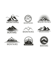 Set of logo Icon Montains in black white Climbing vector image vector image