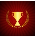 Silhouette of Trophy Cup Winner with a Laurel vector image vector image