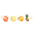sliced fresh fruits with straws tasty drink ripe vector image vector image