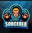 sorcerer mascot esport logo design vector image vector image