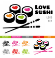 Sushi restaurant logo template vector image