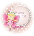 sweet butterfly girl in a pink dress vector image