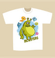 t-shirt print design cartoon cute monsters vector image vector image